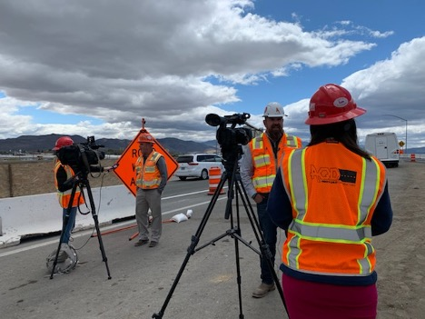 SBX project team members provide work zone safety information to local media.